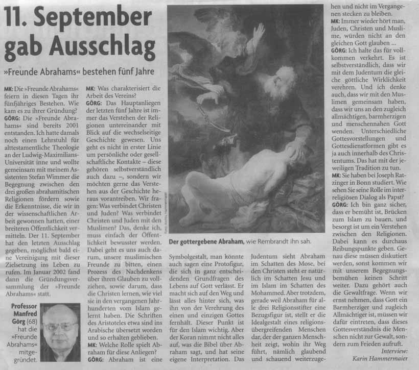 Münchner Kirchenzeitung 5 Jahre Freunde Abrahams