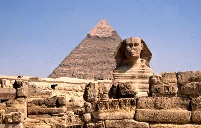 Sphinx und Chephrenpyramide, Gisa